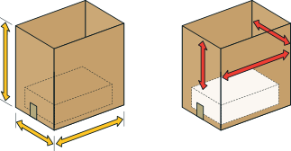 2. BoxSizer measures incoming random box external and internal volumetric dimensions